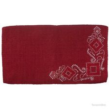 """Western Saddle Blanket - Red Wool - Silver Studs & Red Crystals - Size 34""""x38"""""""