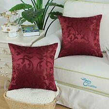 Home Decor 2 pc Throw Pillow Case Cover 18x18 Vintage Floral Reversible Burgundy