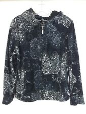 Onque Casuals Womens Velvet Feel Front Zip Drawstring Hooded Sweater Size L