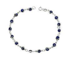 "Navy Blue Evil Eye Beads Bracelet on 925 Sterling Silver 7.25"""