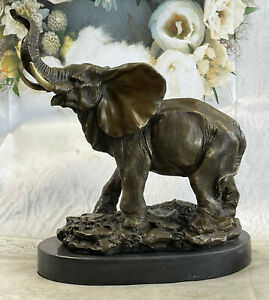 Signed Bugatti Laughing Elephant Symbol of Luck Bronze Sculpture Statue Figurine