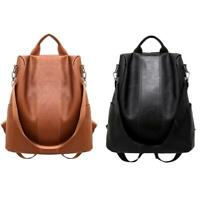 Women Backpack PU Leather School Shoulder Bag Anti-theft Casual Travel Rucksacks