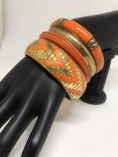 Brass Orange Plastic Bangles Lot of 4 Stackable Bracelets
