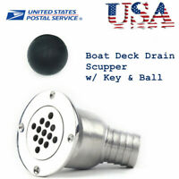 "316 Stainless Steel Boat Marine Deck Drain Scupper Tube for Hose  1-1/2"" USA"