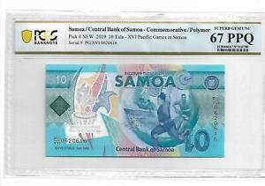 Samoa/Central Bank of Samoa 2019  10  Tala  PMG 67 PPQ