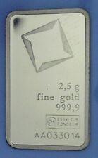 Valcambi Suisse Gold 2.5 grams 999.9 Fine Bar bullion, No Assay Card