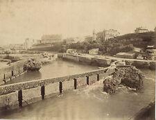Biarritz France Port des Pêcheurs Vintage albumine ca 1880
