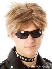 MENS BROWN / BLONDE WIG 80s 90s Rocker Bon Jovi Rock Costume Fancy Dress Party