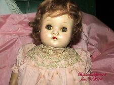 ANTIQUE MADAM ALEXANDER COMPOSITION SLEEPY EYES PINK DRESS GIRL DOLL