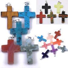 10pcs Wholesale Lot Mix Natural Stone Cross Necklace Pendants Jewelry Party Gift