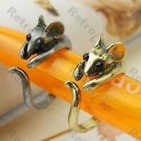 2pcs MOUSE RING wrap animal rings DAINTY MICE vintage bronze/silver pl KITSCH