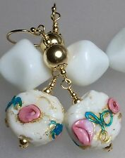 Vintage Antique Venetian Murano Wedding Cake Glass Bead 14ct Gold Earrings #707