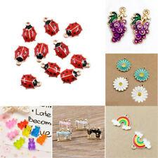 10pcs Enamel Charm Pendant DIY Earrings/Bracelet Craft Jewelry Making Findings