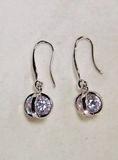 LOVELY MADE WITH SWAROVSKI ELEMENTS CRYSTAL BASKET SILVER-PLATED DANGLE EARRINGS