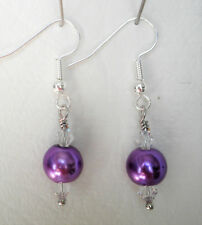 Purple 8mm glass pearl and clear glass bead 4cm drop