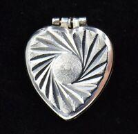 Vintage Heart Locket Sterling Silver Charm Pendant 925 Spiral Etched Top Open