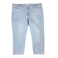J. Jill Authentic Fit Size 16 Cropped Raw-Edge Jeans Light Wash Blue Denim