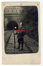Foto Portrait Feldgrau mit Tschako als Eisenbahn Tunnel Wache 1914