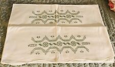 Vintage Pillowcase Crosstitch Pair White With Green Design Of Flowers 20/30