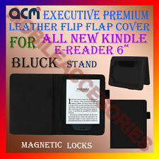 "ACM-EXECUTIVE LEATHER FLIP CASE for ALL NEW KINDLE E-READER 6"" COVER STAND-BLACK"