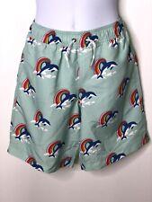 Hanna Andersson Boys Dolphin Rainbow Swim Trunks Sunblock Sz 150 US 12 NWT