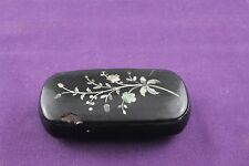 Antique 19th Century Paper Papier Mache with Floral Inlaid Abalone Snuff Box