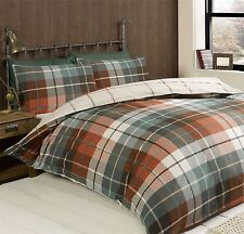 TARTAN CHECK TERRACOTTA TEAL BRUSHED COTTON KING SIZE DUVET COVER (230CMX220CM)