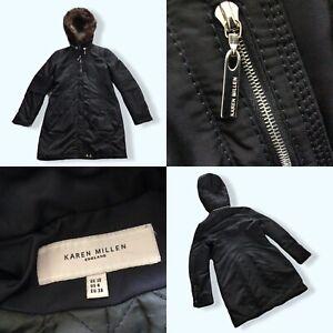 Karen Millen - Ladies Anorak Parka Quilted Black Coat - Size UK 10 Used GC