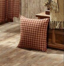 COUNTRY BURGUNDY CHECK PILLOW : PRIMITIVE 16x16 RUSTIC RED STAR ACCENT CUSHION