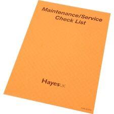 Hayes Pastiglie rapporto REGNO UNITO Manutenzione/Service Servizio CHECK LIST test elettrico