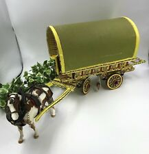 Hand Painted Scratch Built Horse Drawn Gypsy Caravan With Beswick Skewbald Pony