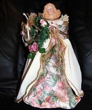 """1970s Christmas 14"""" Porcelain Angel Tree Topper Victorian Gold White Wreath Trim"""