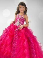 Fushia Ruffles Organza Flower Girl Dresses with Sequins Crystals Pageant Dress