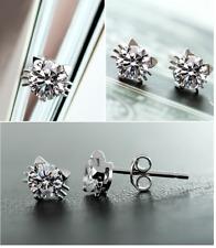 6mm 3D 925 Sterling silver cute cat kitty Cubic Zirconia stud Earrings Gift box