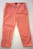 Women's JAG Bright Coral Cropped Slim Fit Cuffed Pants-Sz 10