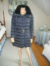 NWT Retail $1195  Burberry Brit Down Navy Hooded Shearling Collar Puffer Coat Lg