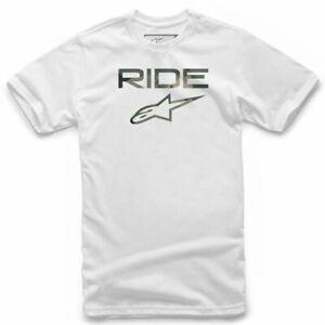 Crew Neck T-Shirt - Alpinestars RIDE 100% Cotton Classic Regular Fit - White