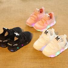 LED Light Up Luminous Sport Trainer Shoes Baby Boys Girls Kids Running Sneakers