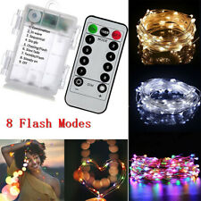 10M 100 LED Battery Cooper Wire String Fairy Lights Xmas Party Remote Control UK