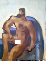 """Man Male Nude Figure Abstract Cubist Oil Painting 18""""x24"""" Original Signed"""