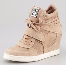 NIB Ash COOL Suede Canvas Wedge Sneakers Shoes, beige, EUR 37-SOLD OUT STYLE!