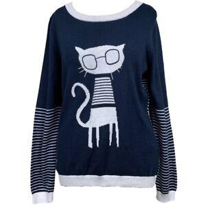 NEXT Ladies JUMPER Blue Petite UK Size 12 Cat Glasses Stripe P2