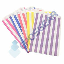 More details for 100 colour coloured candy stripe paper sweet gift shop kraft party bags 5