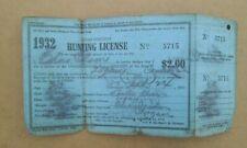 1932 Utah Hunting & Fishing License Paper License W/ Deer Tag