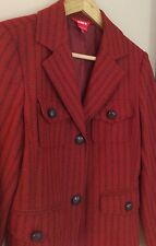Dorothee Bis A Burnt Orange Leather Button Front Jacket Size 8 Wool Blend