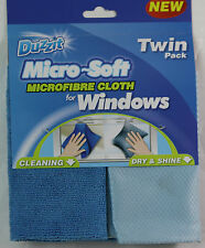 New Microfibre Window Cloth Twin Pack Duzzit Cleaning Glass MicroFiber Cloth