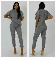 Women Short Sleeve Check Boxy Suit Ladies Lounge Wear Set Two Piece Tracksuit