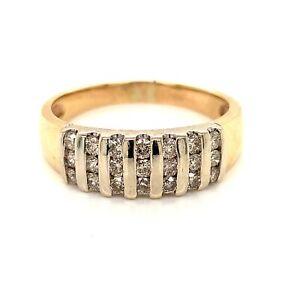 Timeless 9k Yellow Gold Diamond Band Dress Ring TDW 0.50ct - Size P1/2 FREE POST