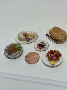 Dollhouse Miniatures 1:12 Artisan Food Lot Of 5 ,Turkey, Ham, Spaghetti And More