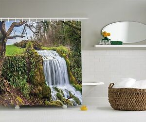 Waterfall Forest Nature Spring Landscape Print Shower Curtain Extra Long 84 Inch